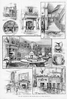 CLUB-HOUSE OF THE PLAYERS ACTORS EDWIN BOOTH'S ROOM FIREPLACE MANTEL LIBRARY