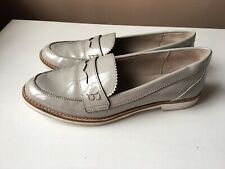 ZARA Basic collection ladies grey patent leather loafers shoes EU size 40