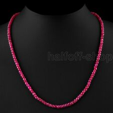 EXCLUSIVE 2x4mm NATURAL FACETED RED RUBY BEADS NECKLACE STRAND 18INCH