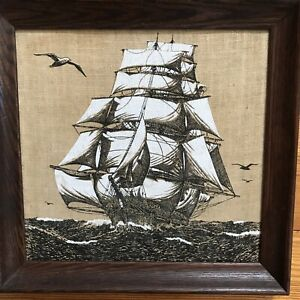 """Vintage Ray Dee Handprints 13.5"""" X 13""""  Clipper Ship on !00% Pure Linen Picture"""