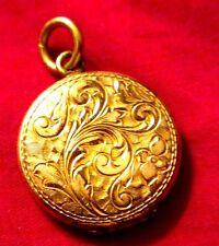 Antique Authentic Art Nouveau Elegant Round GP Locket Pendant, ca.1890-1900s