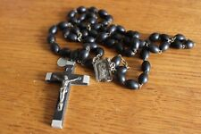 Vintage  Black Wood Beads Chapelet Religieuse Virgin Mary Cross Croix 47 cm