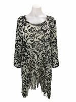 Chico's Travelers 3 Women's Size XL Top Mesh Floral Print Fringe 3/4 Sleeve