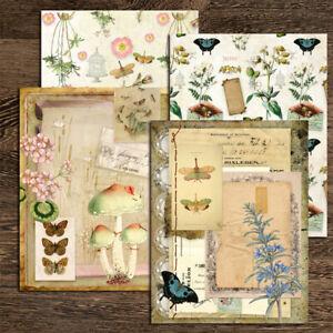 4PCS Vintage Paper Pad Butterfly Scrapbooking Journal Cardstock Card Album DIY