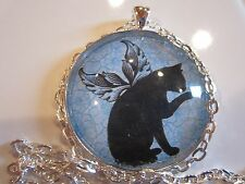 Black cat with angel wings 38mm round glass pendant necklace jewelry w/ chain