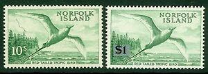 Norfolk Islands 10/- & $1 Red tail Tropic birds, fine unmounted mint
