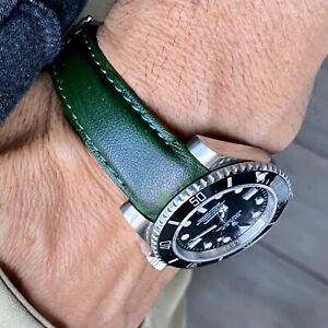20mm GREEN Calfskin leather curved fitted Band Strap Rolex SUBMARINER GMT