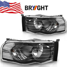 For 2002-2005 Dodge Ram 1500 2500 3500 Black Headlights Clear Corner Lamps Pair (Fits: Dodge)
