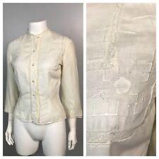 Antique 1910s White Linen Sheer Button Up Blouse Top Hem Stitching Lace Trim XS