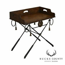 Equestrian Iron X Base Tray Top Butlers Table