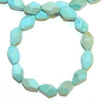"""NG2729 Light Blue Turquoise 13mm -16mm Faceted Oval Magnesite Gemstone Beads 15"""""""