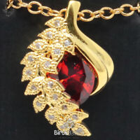 "1Ct Oval Red Ruby Pendant CZ Leaf Halo Necklace 14K Yellow Gold Plated 18"" Chain"