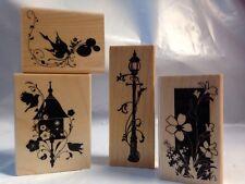 Inkadinkado Birdhouse Lamp Post Flower Bird Balloons Flourish Vine Rubber Stamps