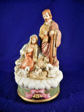 "pastel nativity porcelain plays Silent Night 7 1/2"" tall"