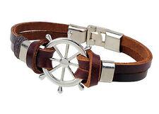 Unisex Mens Punk Wide Genuine Leather Belt Bracelet Bangle Cuff Wristband Gothic