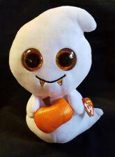 "Ty Beanie Boos Plush Scream The Ghost Carrying Halloween Pumpkin Medium 9"""