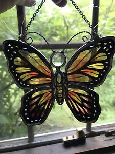 Amia Denver Co. Hand Painted Stained Glass Suncatcher Butterfly Black Gold Rust