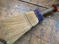 Antique Vintage Hand Held Straw Whisk Broom with Purple Velvet & Rust Mohair Top
