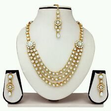Designer Antique Gold Plated Diamond&kundan Necklace Earrings Tika Jewelery Set