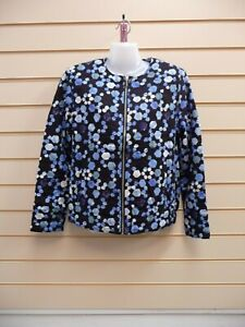 Kaleidoscope Women's Size 18 Bomber Jacket Blue Print Quilted Casual  G001