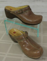 CLARKS UNSTRUCTURED Sz 9.5 Women Brown Leather Heel Slide Mule Clogs Shoe sandal