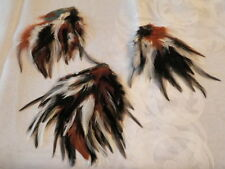 """Vtg Millinery Flower Feather Trim Collection 6-7"""" Black Brown White France H1420"""
