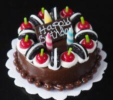 Dollhouse Miniature Birthday Chocolate Cake Cherry Cookies Top Food Deco Barbie