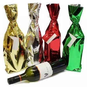 Xmas Bottle gift wrap Metallic Bottle Bags 4 pack