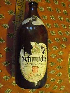 SCHMIDT'S OF PHILADELPHIA LIGHT BEER  QUART 32 fl oz BOTTLE (empty) CAP