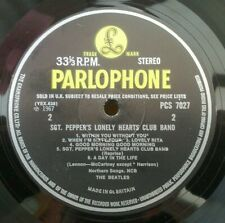 """BEATLES """" SGT PEPPER """" SUPER MONSTER RARE FONTED 60'S UK STEREO WITHOUT TAX CODE"""