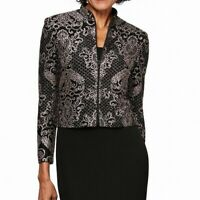 Alex Evenings Womens Jacket Black Size 12P Petite Glitter-Print $109- 247