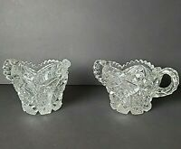 Imperial Pressed Glass - Creamer And Sugar Bowl - Clear Vintage Glass