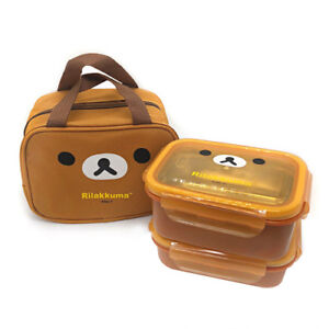 Rilakkuma Stainless 2 Layers Square Bento Lunch Box Food Container With Bag
