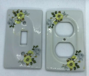 VTG 2 Piece Set Ceramic Light Switch And 2-Outlet Face Plate Cover HAND PAINTED