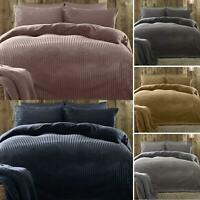 Fleece Duvet Covers Teddy Bear Fleece Ribbed Cosy Warm Quilt Cover Bedding Sets