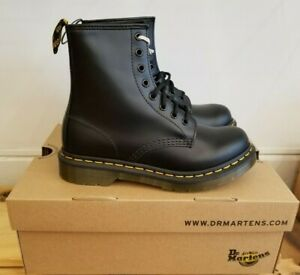 Dr Martens 1460 Black Smooth Leather Lace Up Boots Everyday Style for Women