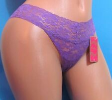 CANDIES Purple Sheer Nylon lace Sexy thong sissy bikini panties Sz M