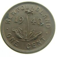 1940 Canada One 1 Cent Copper Penny Canadian Circulated George VI Coin P390