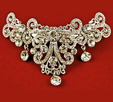 Ladies Silver Tone Crystal French Clip Hair Barrette Brides Bridesmaid Prom S1