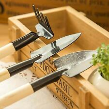 3Pcs Mini Compact Plant Garden Hand Wood Tool Equipment Kit Spade Shovel Rake