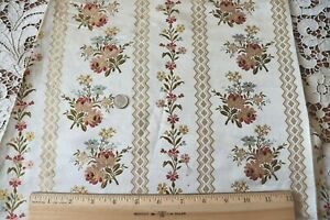 """Antique French 19thC Silk Floral Brocade Fabric Panel c1870~L-48""""X W-20"""""""