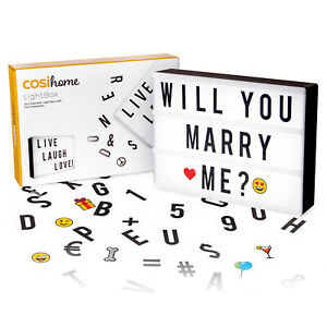 Cosi Home® A4 Cinematic Light Box with 100 Letters, Emoji, Smilies and Symbols