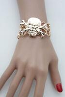 Women Fashion Jewelry Gold Wrist Bracelet Metal Chain Bone Skull Skeleton Charms