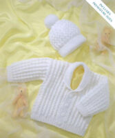 baby knitting pattern for vintage baby boys jacket hat dk wool prem 12 to 24 in