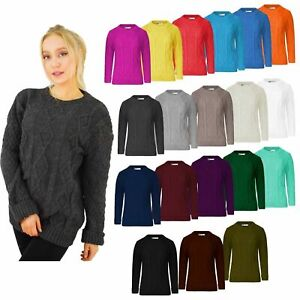 New Ladies Long Sleeve Chunky Cable Knitted Jumper Crew Neck Winter Sweater Top