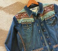 XL $194 Coldwater Creek Embroidered Denim Jacket Western Coat Women's X-Large