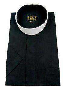 """Men's Black Short Sleeve Full Collar Neckband Clergy Shirt w/1.50"""" Soft Collar"""
