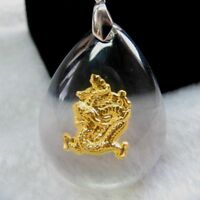 Hot Sale 24K Yellow Gold &Crystal Pendant Man Woman's Fine Lucky Dragon / Gift