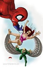 Spiderman Vulture Mary Jane Marvel comics art 11x17 signed print Dan DeMille