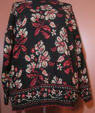 Women's Black Red Gold Metallic Christmas NYE Sweater 2X